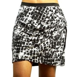 BCBGMaxAzria Ruched Printed Faux Wrap Mini Skirt